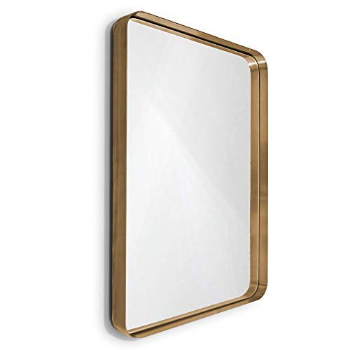 "WallCharmers Gold Mirror, 22x30"" Hangs Horizontal or Vertical Bathroom Mirrors for Vanity, Gold Vanity Mirror, Vanity Mirrors for Bathroom, Big Mirrors, Infinity Mirror"