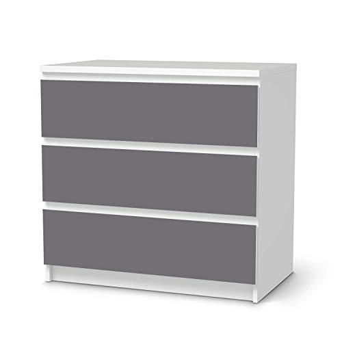 creatisto Möbel-Folie passend für IKEA Malm Kommode 3 Schubladen I Möbeldekoration - Möbel-Sticker Aufkleber Folie I Deko Wohnung für Wohnzimmer, Schlafzimmer - Design: Grau Light