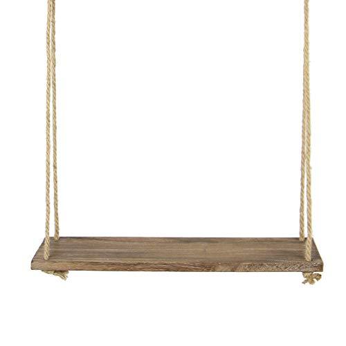 Estante colgante de madera | Estantería de cuerda montada en la pared | Estante Boho Chic | Repisa rústica de cuerda de yute | Accesorios incluidos | M&W 1 Tier