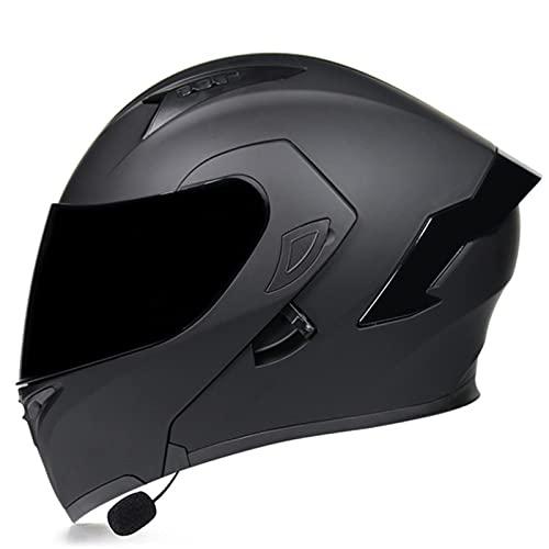 Casco Moto Modular Bluetooth Integrado Casco De Motocicleta Integral Abatible Homologado ECE Con Doble Visera Casco De Moto Scooter Para Hombre Y Mujer Adultos G,L