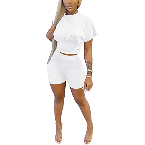 Two Piece shorts sets , Tracksuit Women Crop Top and Biker Shorts Sweat Suits