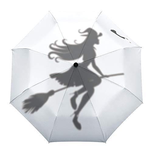 Faltbarer Reise-Regenschirm, Hexe auf dem Besen, Halloween-Muster, automatisches Öffnen/Schließen, kompakter, winddichter Regenschirm für Mädchen/Frauen/Erwachsene