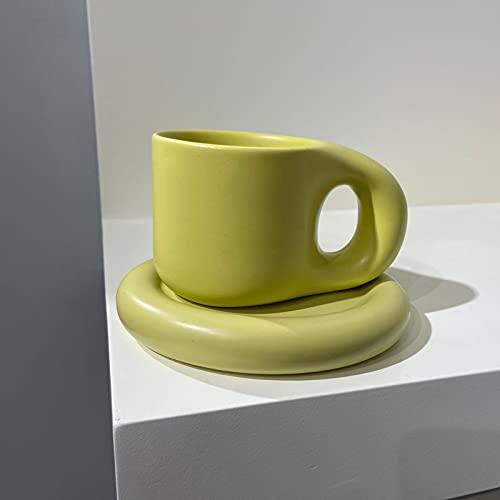 Juego de Taza y Plato Cerámica, Taza de Estilo Europeo, Taza de Desayuno Grande, Taza de Café de Avena, 300 Ml de Gran Capacidad (16 * 8 * 9 Cm)