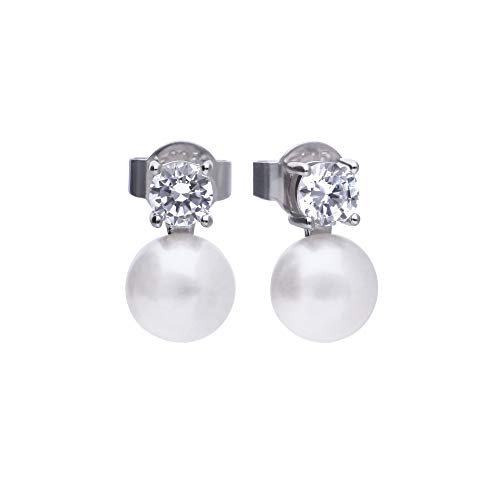 Frauen-silberne Ohrringe 6216881111 Diamonfire Zirkone und Perle