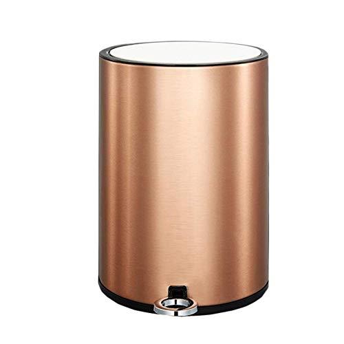 SZRWD 12L Abfallbehälter Mülleimer Edelstahl Eingebaut mit Deckel Pedal Typ Papier Kassettendichtung Home Küche Wohnzimmer Badezimmer Gold 24 * 35cm