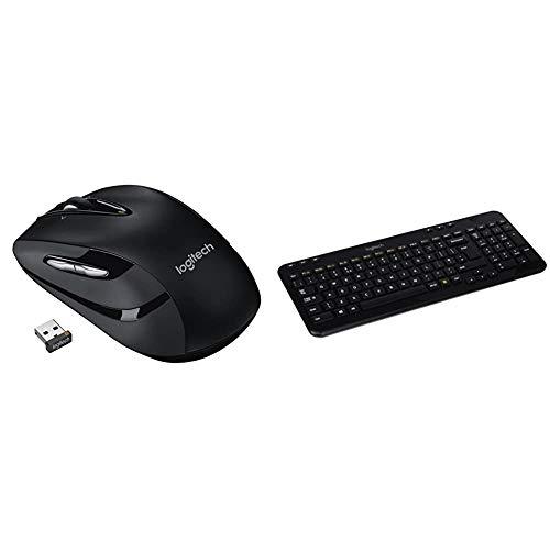 Logitech M545 Wireless Mouse - Black & K360 Compact Wireless Keyboard for Windows, 2.4GHz Wireless with USB Unifying Receiver, 12 Programmable F-Keys - Black