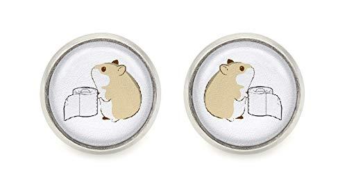 Hamster Toilettenpapier Motiv Cabochon Ohrstecker 12mm silberfarben Ohrringe