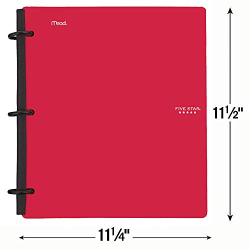 Five Star Flex Hybrid NoteBinder, 1-1/2 Inch Binder with Tabs, Notebook and 3 Ring Binder All-in-One, Red (72399) Photo #2