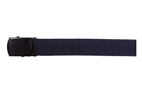 MFH Gürtel mit Metallschloß Koppel Stoffgürtel Länge bis 130 cm verstellbar Breite: 3 cm viele Farben (Blau)