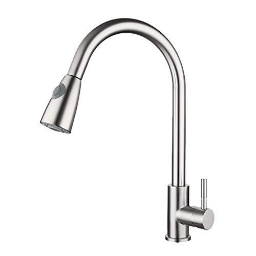 XZDM Edelstahl-Wasserhahn, Schraubenschlüssel, frei einziehbar, Dual-Funktion Water Outlet-Modus Küchenhahn für heißes und kaltes Wassermischen, Waschgemüse in der Spüle Silver