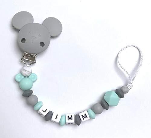 Schnullerkette Nuckelkette türkis grau Junge Silikon mit Namen Maus