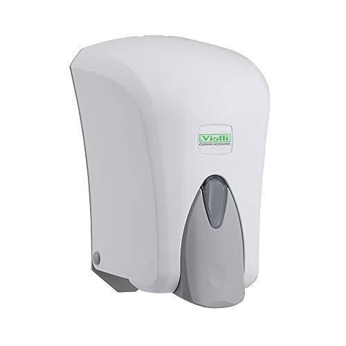 Vialli Seifenspender weiß zur Wandbefestigung für Flüssigseife, Lotion, Shampoo nachfüllbar modernes Design 1000 ml