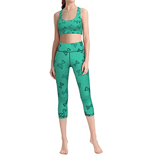 Black Line Hanukkah Women Yoga Set 2 Piece Workout Sport Bra with High Waist Cropped Legging Outfit Tracksuit