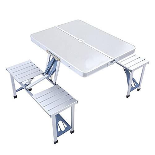 Mesa plegable de picnic de 4 personas, mesa de picnic de campamento plegable portátil con silla de asiento, con agujero de paraguas para al aire libre Camping Barbacoa Papelería Picnic Pesca de viaje