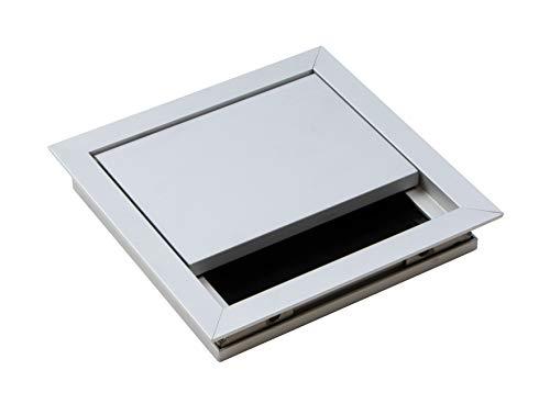 Gedotec Kabeldurchlass silber eloxiert | Kabelausgang eckig 100 x 100 mm | ECO | Kabeldose aus Aluminium | Schreibtisch-Durchlass mit Bürstendichtung | 1 Stück - Kabeldurchführung zum Einlassen
