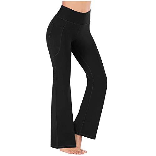 quming Mujer Jogging Correr Yoga Pantalones,Pantalones de Yoga elásticos de Cintura Alta para Mujer, Pantalones Deportivos de Fitness Leggings-Black_XL