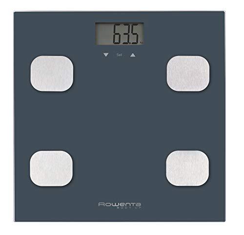 Rowenta Body up BR2520 Báscula de baño con medidor de grasa corporal e IMC, hasta 8 perfiles de usuario, con una gran pantalla LCD, plataforma de vidrio, hasta 150 kg de capacidad, color Azul marino