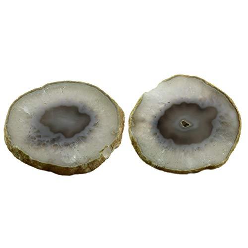 Vatslacreations Posavasos de ágata brasileña sin ningún color dañino, juego de 2 posavasos de cristal blanco y marrón, piedra de forma libre para decoración del hogar, posavasos brasileño