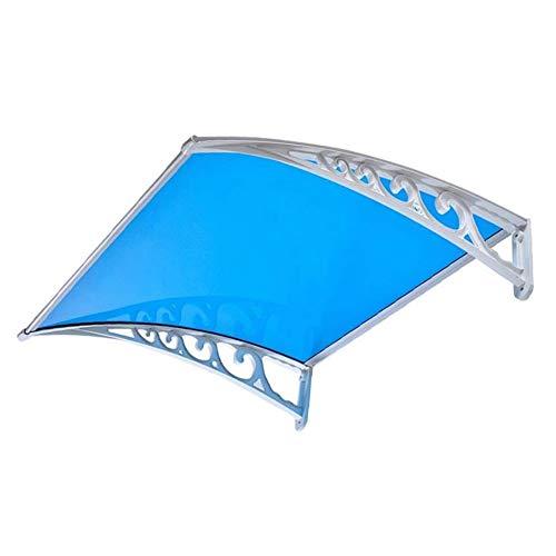 Auvent Marquise Porte D'Entree Terrasse Toit Abri Banne Entrée Protection Protection D'abri Polycarbonat (Color : Blue, Size : 80cmx80cm)