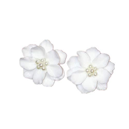 LJSLYJ 1 Pair Big White Camellia Flower Earrings for Women Elegant Gift Ear Studs Jewelry
