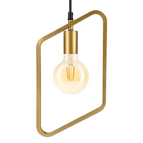 LUUK LIFESTYLE eenvoudige Scandinavische design lamp, vintage hanglamp voor E27-lampen, industriële lamp, ideaal voor woonkamer, eetkamer, kantoor, mat goud