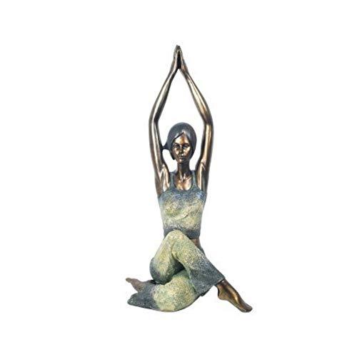 CAPRILO. Figura Decorativa de Resina Mujer Practicando Yoga. Adornos y Esculturas. Decoración Hogar. Regalos Originales. 40 x 22 x 16.5 cm.