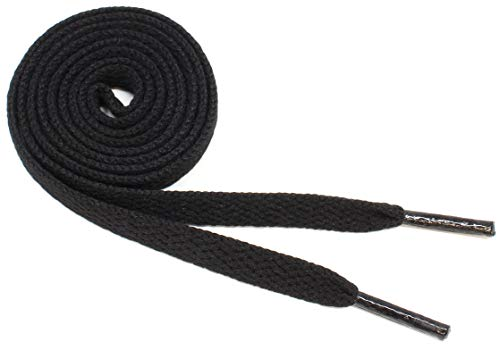 Flat Shoelaces 5/16' Wide Solid Colors Several Lengths For Sneakers and Shoes (Black-36)