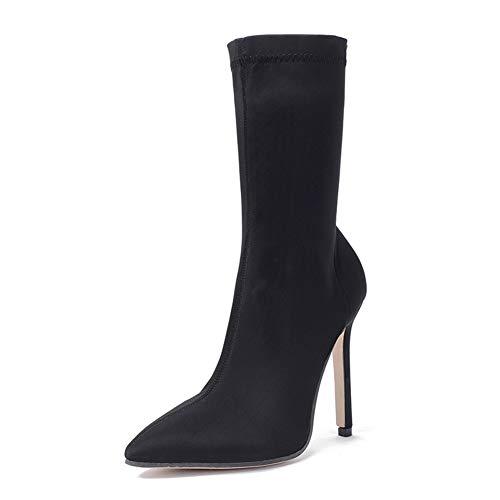 RBC hoge hakken damesschoenen in de laarzen elastische doek gezicht puntige fijne hak sokken hoge hakken mode laarzen, EU37/UK4.5-5