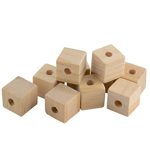 1/2 Wood Cubes with Holes - 100 Pack - Unfinished Solid Wood Beads for DIY Craft and Building Projects