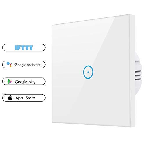 Smart Alexa Lichtschalter, SAINKO Wifi lichtschalter arbeitet mit Amazon Alexa,Google Home,Fernsteuerung Ihrer Geräte von überallre,gehärtetes Glas Touchscreen-schalter mit Überlastungsschutz (1 Weg)