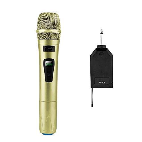 Microfoon, draadloos, draagbaar, luidspreker met LED-microfoon en USB-ontvanger, draagbaar, voor KTV Speech versterker in goud voor Vocal Recording, Podcasting, Streaming