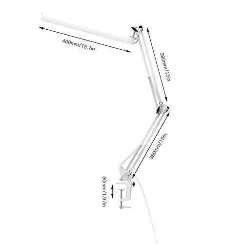 LZFLZ Carga Escritorio De Oficina Lámpara con Casquillo De 3 Nivel De Atenuación Oscilación del Brazo Ajustable LED Lámpara De Mesa USB Eye-cuidar Blanco (Color : White, Wattage : 3W)