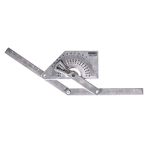 General Tools 39 Stainless Steel Protractor and Angle Finder, Outside, Inside, Sloped Angles, 0° to 180°