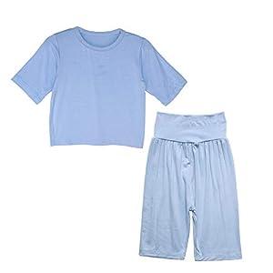 Enfants Chéris子供服 パジャマ ベビー服 夏服 キッズ 女の子 男の子 ルームウェア 部屋着 寝間着 上下セット 冷房対策 七分袖 腹巻付 柔らかい ブルー 110