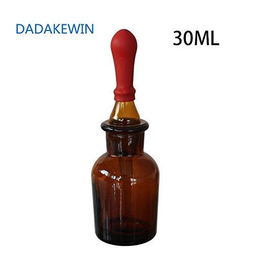 DADAKEWIN 30ml Bernsteinglas-Tropfflaschen mit roter Gummikappe Glas-Augentropfen für Laborchemikalien, Jod, Medizin - Packung mit 10 Stück (Color : Amber, Size : 30ML)