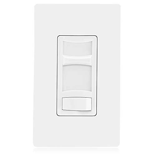 Maxxima 3-Way/Single Pole Decorative LED Slide Dimmer Switch Electrical light Switch 600 Watt max, LED Compatible On/Off Switch, Screwless Wall Plate Included