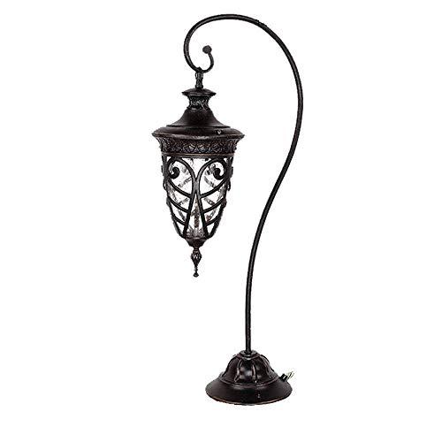 85 cm 1 zuil glazen lantaarn voor buiten, 1 lamp, voor het gazon, dik, waterdicht, roestvrij, tuinverlichting, staande lamp, straatlantaarn in moderne stijl voor de voordeur (wig)