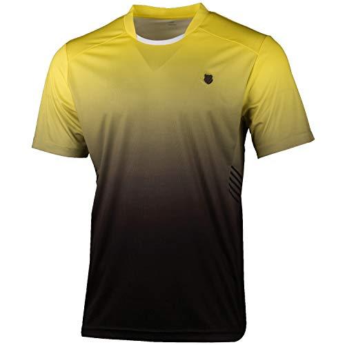 K-Swiss KS TAC Hypercourt Express Crew Camiseta de Tenis, Hombre, Amarillo/Negro, L