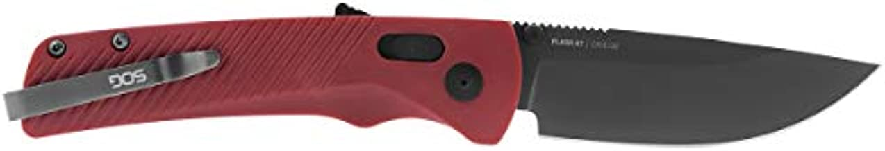 SOG 11-18-07-57 Flash AT Assisted Opening Folding Knife with Combo Blade and Garnet Red Handle