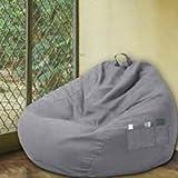 Funda de puf de pera sin relleno, L (80 x 90) para adultos y niños, puf gigante de tela, puf de salón, para sofá grande, para interior y exterior (gris, L)