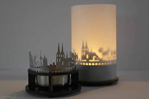 13gramm Köln-Skyline Windlicht Schattenspiel Premium Geschenk-Box Souvenir, inkl. Kerzenhalter, Kerze, Projektionsschirm und Teelicht