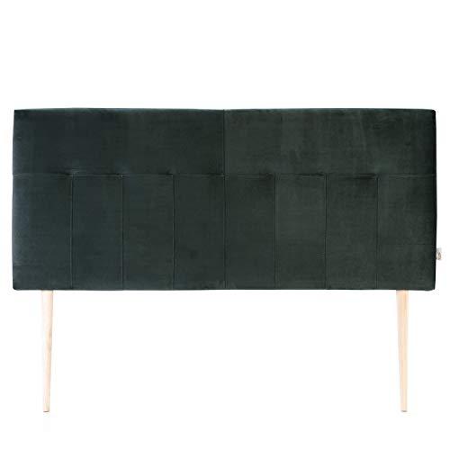 marckonfort Cabezal tapizado Nápoles 160x100 cm Verde Oliva, Terciopelo, Patas de Madera, herrajes incluidos