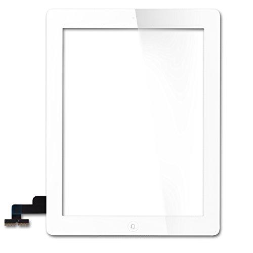 YUDA para iPad 2 A1395 A1396 A1397 Pantalla táctil digitalizador de Cristal con botón de Inicio Blanco Blanco
