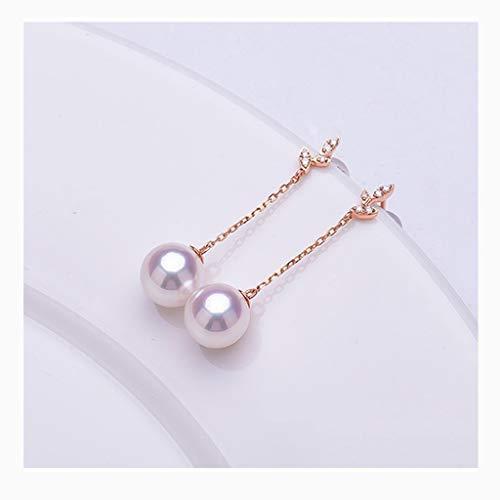 HAKLAKY Aretes de Plata Pendientes de Perlas cultivadas cuidadosamente seleccionada de 18 Quilates de Oro/Diamante Redondo de Agua Dulce Blanco Perla Temperamento for la Mujer Pendientes de Mujer