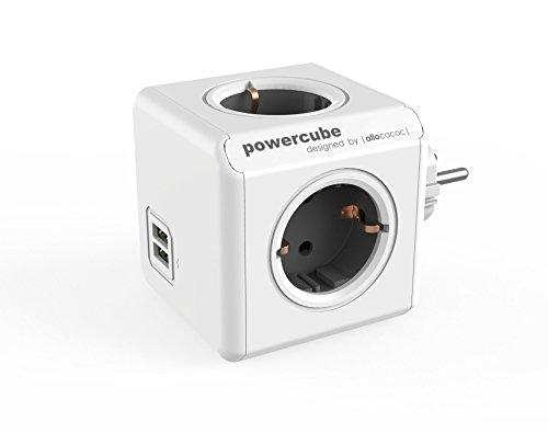 Allocacoc PowerCube DuoUSB Original Gris, Ladrón Multiple con 4 enchufes/Tomas de Corriente y 2 de USB en Forma de Cubo, Blanco Gris