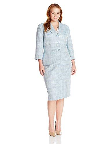 Le Suit Women's Plus Size Crossdye 3 Button Skirt Suit, Bali Multi, 16W