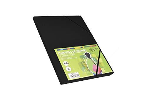 Pack 5 Carpetas Tamaño Folio con Solapa y Gomas Elasticas Color Negro