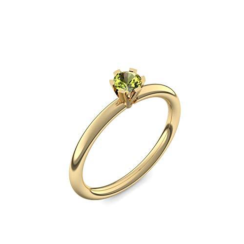 Goldring Peridot 585 + inkl. Luxusetui + Peridot Ring Gold Peridotring Gold (Gelbgold 585) - Celebrity Amoonic Schmuck Größe 56 (17.8) UW01 GG585PEFA56