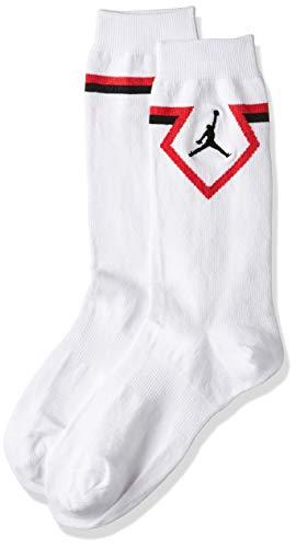 NIKE U J Crew - Diamond - Calcetines, Unisex Adulto, Blanco(White/University Red/Black)