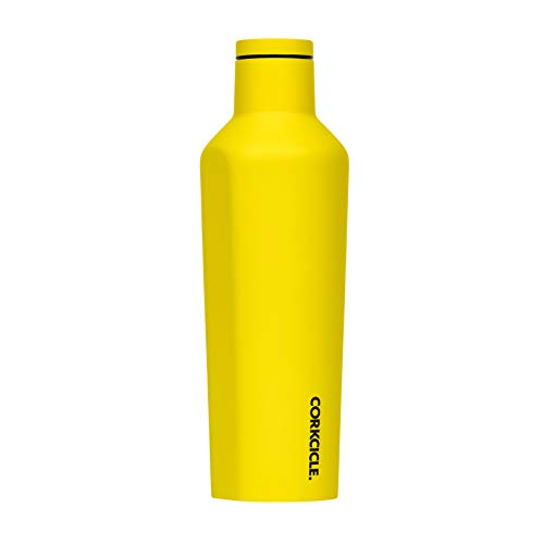 Corkcicle 16oz Canteen Neon Lights Collection - Triple Insulated Stainless Steel Travel Mug, Neon Yellow